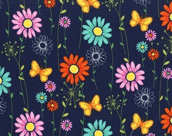 Michael Miller 100% Cotton Quilting Fabric Doodle Daisy gorgeous shades of , lilac, yellow, blue, green, aqua on anavy background