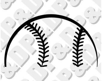 Baseball Half ball  svg, eps, pdf, dxf, jpg, png, .studio3 - Digital Cut file for Cricut or Silhouette