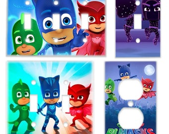 PJ Masks Kids Room Light Switch Cover & Power Outlet Plate (Owlette Catboy Gekko) Cartoon Kids Bedroom Decor (gecko owl cat boy)