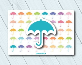 Umbrella Stickers - Planner Stickers - Functional Icon Stickers - Erin Condren - Rainy Day Stickers - Weather Stickers - Matte or Glossy