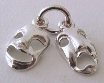 Genuine SOLID 925 STERLING SILVER 3D Theatrical Masks Drama charm/pendant