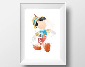 Wall Art Watercolor  Pinocchio Print,Pinocchio Print,Watercolor Disney ,Nursery Print,Printable Disney,Baby Gift,Room Decor,Party Decor