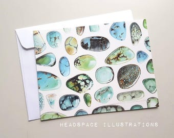 5 Pk Turquoise Stones Notecards Blank Greeting Gift Thank you Anniversary Jewellers Colored Pencil Art Cards by Headspace Illustrations