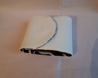 Fabric checkbook and long white leatherette
