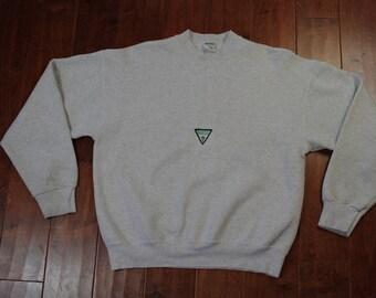 Vintage Guess Triangle Logo Crewneck Sweater Mens XL 90s Grey USA