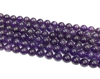 1Full Strand Amethyst Round Beads,8mm 10mm Amethyst Gemstone For Jewelry Making