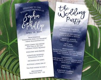 Navy Watercolor Wedding Program Template, Printable Wedding Program