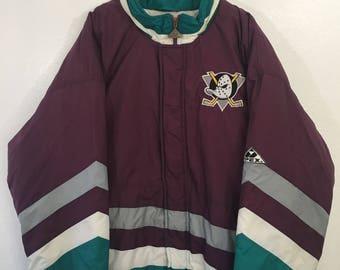 Vintage 90s Original Anaheim Mighty Ducks Apex Sports Jacket Size XL Purple Disney NHL Hockey
