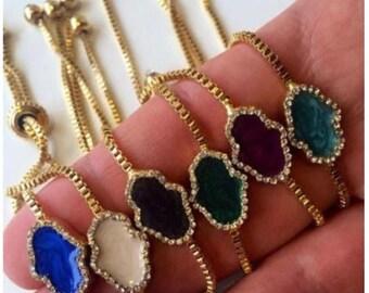 PROMO hamsa evil eye bracelet - gold plated hamsa bracelet - adjustable bracelet - mother of pearl hamsa bracelet - zirconia bracelet