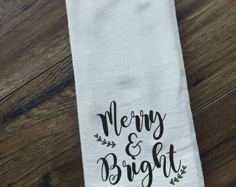 merry and bright tea towel- funny christmas gift- christmas decor- christmas kitchen decor- christmas table setting- secret santa gift