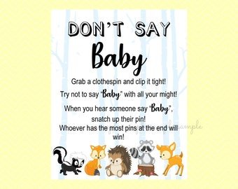 Don't Say Baby Game Sign, Don't Say Baby Sign, Gender Reveal Party, Boy or Girl Sign, Printable, Baby Shower Party, Woodland Design style