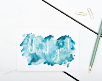 Thank You Cards // 1 pack / 5 pack / 10 pack // A6 Charity Greetings Card // Blue Watercolour Calligraphy Cards