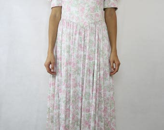 VINTAGE Laura Ashley 80s Light Pink Green Floral Cotton Bow Dress Size S 8 10