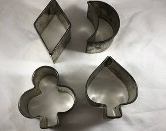 Aluminum Cookie Cutters - Vintage Cookie Cutters - Set of 4 Cookie Cutters - Club Cookie Cutter - Spade Cookie Cutter - 1950s Baking
