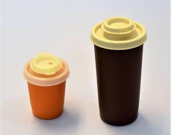 Vintage Tupperware Brown and Orange Salt and Pepper Shakers/1970s Salt and Pepper Shakers