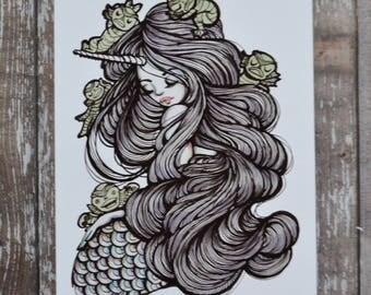 Black Lagoon - 5x7 Inch Halloween Themed Art Print from Drawlloween / Inktober 2017