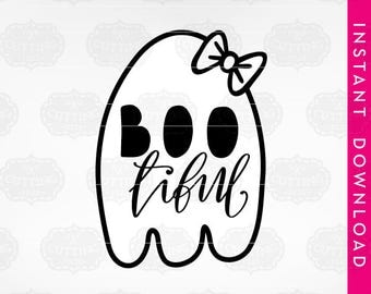bootiful svg, dxf files, Bootiful, ghost svg files, boo svg, baby halloween svg, halloween clipart commercial use, girl ghost svg, scary svg