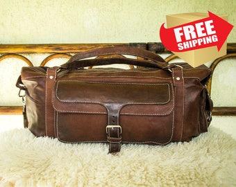 Handmade Leather Diaper Bag / Leather Duffle Bag / Handmade Leather Travel Bag / Brown Leather Weekender Bag