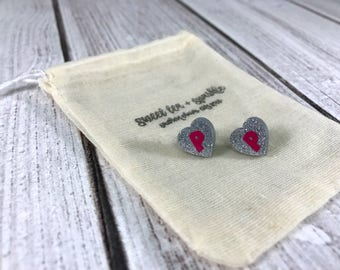 Silver Sparkle Heart Acrylic Monogram Earrings