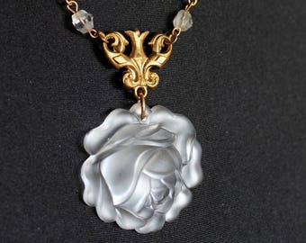 Art Deco necklace, rose, Lalique like, 1950, frosted glass, flower, vintage brass, vintage assemblage, handmade in France, chez Sylvie/082