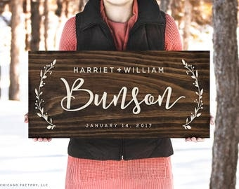 Couples Name Sign, Wedding Date Sign, Custom Name Sign, Large Wood Sign, Engagement Gift, Wedding Gift, Housewarming Gift (GP1115)