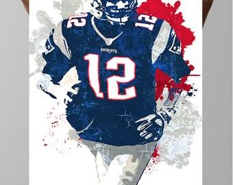 Fan art poster, Tom Brady New England Patriots Poster, Wall art, Sports Poster, Fan art, Wall Art, Sports art, Sports Print, Kids Decor