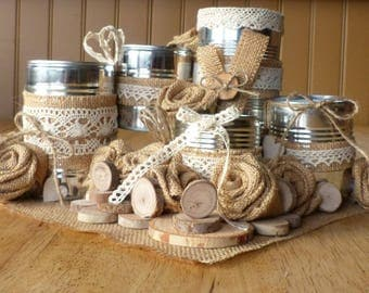 Decorative storage Tin with, lace and burlap