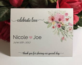 Blush Pink Floral, Bird Seed or Wildflower Folders, Wedding Favor, Celebrate Love, 20 Personalized Wedding Favors
