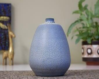 Vintage West German Ceramic Vase by Albert Kiessling in Blue Snakeskin Glaze, 1950s/60s Fat Lava Era