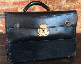 Original Early Leather Doctor Bag with Bottom Compartment