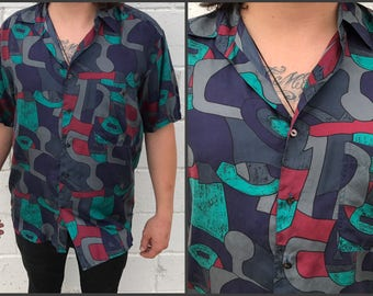 80's/90's Men's Abstract Silk Short Sleeve Button Down