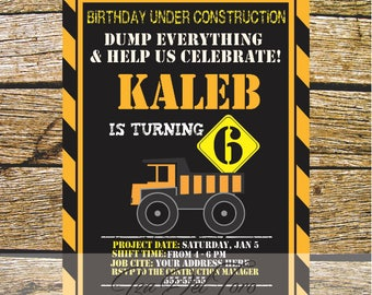 Digital invitation birthday construction, Dump Truck Birthday Invitation, Construction Boys.