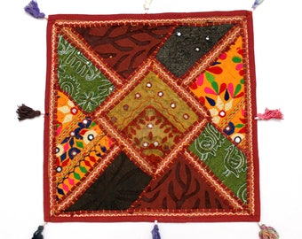 Handmade Hippie Gypsy Home Decor Ethnic Multi color Embroidered Hippy Patchwork Bohemian Pillow Shams Couch Cushion Cover Case G799