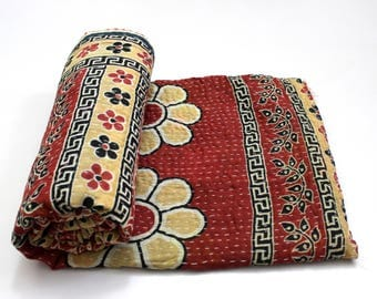 Indian Handmade Twin Size Reversible Floral Cotton Quilt Throw Embroidered Bohemian BedSpread Gypsy Blanket Ethnic Bedding Coverlet J569