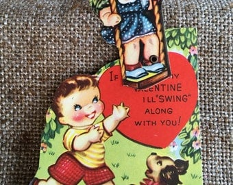 NOS Vintage USA Litho Printed Mechanical Valentine Card,Boy Pushes Girl on Swing , I'll Swing Along With You, with Original Envelope