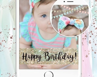 Birthday Snapchat Filter  - Happy Birthday Bunting Banners: Pink, Mint & Glitter - Automatic Download - Ready to submit in minutes!