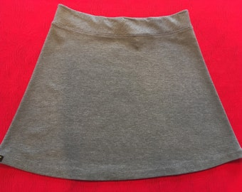 Medium Heather Gray Color Medium Weight Knit Activewear/Officewear Skirt with Hidden Adjustable Tie Comfortable A-Line Cut Skims of Hips