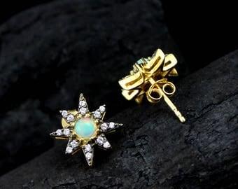 Ethiopian Opal & CZ Earring, Ethiopian Opal Jewelry, Opal Earrings,Stud Earring, Opal Gemstone Jewelry, Opal Fire Jewelry,ETER1001