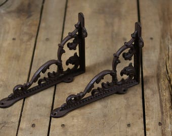 Ornate Cast Iron Shelf Bracket Pair