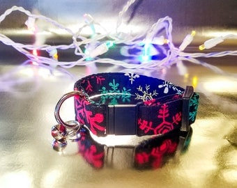 Fun Colorful Snowflakes on Black Cat Collar- Holiday/Winter/Christmas Collection
