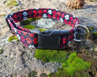 Black/Red/White Dog Paws, Paws of Love Dog Collar