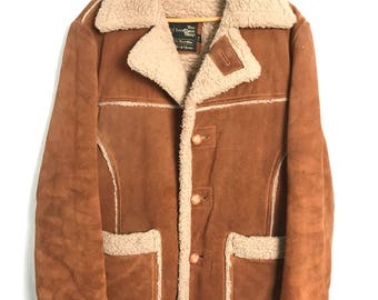 1970s THE LEATHER SHOP Suede & Sherpa Rancher Coat
