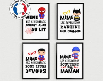 Bien connu PROMO: Set of 4 Posters quotes super hero kids in a bedroom or MB22