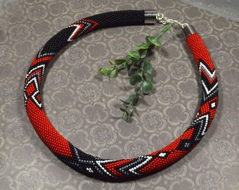 Bead Necklace, Beaded Crocheted Necklace, Black and Red, Crochet Rope Necklace, Geometry Statement Necklace, Seed Bead Necklace