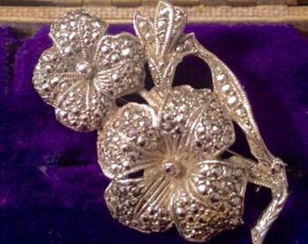 Vintage Jewellery, Vintage Brooch, Marcasite Flower Brooch, Floral Vintage Brooch, Marcasite Brooch Pin, Vintage Jewelry