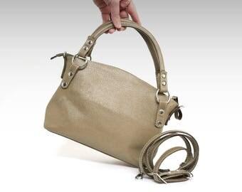 Leather bag soft leather handbag beige Italian cow leather crossbody women's handbag simply shoulder bag small leather purse minimalist bag