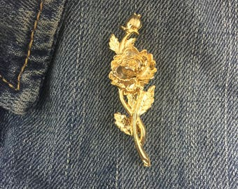 Vintage Gold tone rose pin | #837 | rose, gold tone, rose pin,