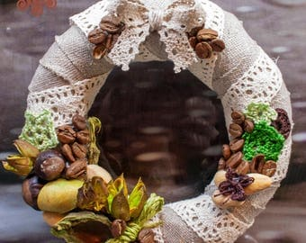 Spring Easter wreath with eco decor in natural hues