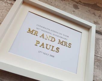 Personalised 50th golden wedding anniversary gift handmade frame