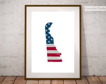 American Flag Wall Art Rustic US Flag State Outline Gifts Cubicle Decor Wall  Art Print Patriotic Part 53